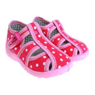 dievcenske papuce ruzove s bodkami